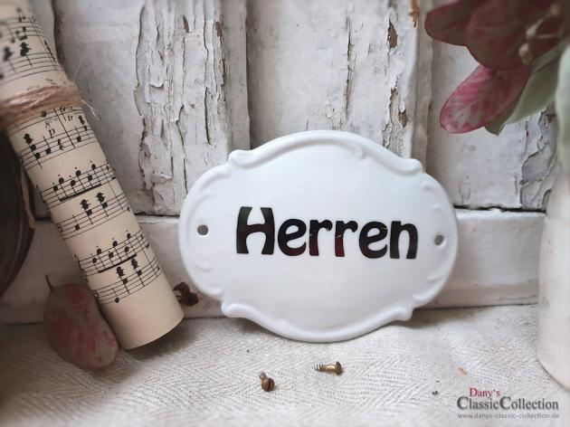 Altes Porzellanschild HERREN~ Jugendstil Schild ~ weißes Schild ~ schwarze Schrift ~ Porzellanschild ~ Türschild ~ Beschilderung