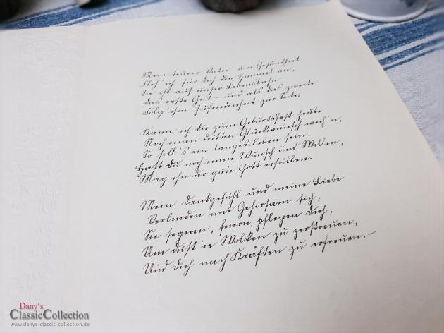 Antiker Schmuckbrief ~ Geprägt und lithografiert ~ Brief von Tochter an Vater ~ 1914 ~ Stuckrahmen ~ Glocken ~ Veilchenstrauß ~ hw3959b1