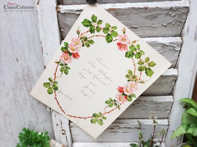 Antiker Schmuckbrief ~ Geprägt und lithografiert ~ Brief von Tochter an Vater ~ 1909 ~ mit Rosen umrahmt ~ hw3959b2