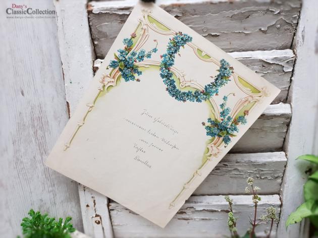 Antiker Schmuckbrief ~ Geprägt und lithografiert ~ Brief von Tochter an Vater ~ mit Rosen umrahmt ~ hw3959b3