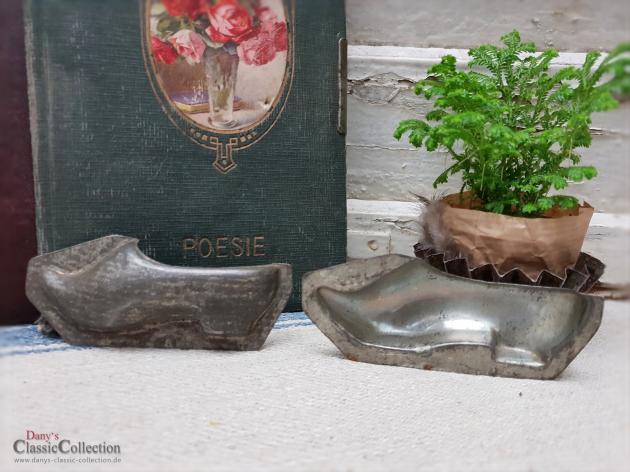 Alte dunkle Schuh Schokoladenform zweiteilig ~ 10,5 cm ~ Halbschuh komplett ~ Shabby Home ~ Vintage Deko ~ ht2376kh