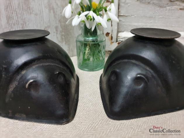 Igel Backformen ~ schwarze stabile Backformen ~ Vintage Igel Bols ~ Kerzen Deko ~ Vintage Deko ~ Landhausküche ~ hy4886