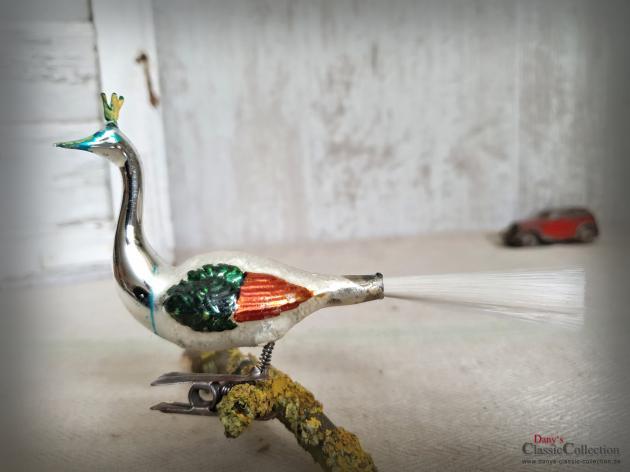 Glasvogel auf Clip ~ Multicolor ~ Glasfaserschweif  ~ Christbaumschmuck ~ Weihnachten ~ Weihnachtsbaum  ~ hx4647v1