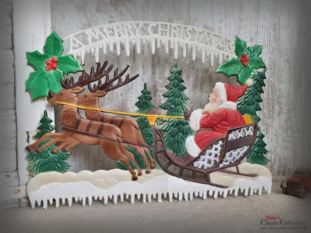 Dresdner Pappe geprägt ~ Nikolaus auf Rentier-Schlitten ~ A Merry Christmas ~ Weihnachtsdeko ~ Frohe Weihnachten ~ Vintage ~ hy5047