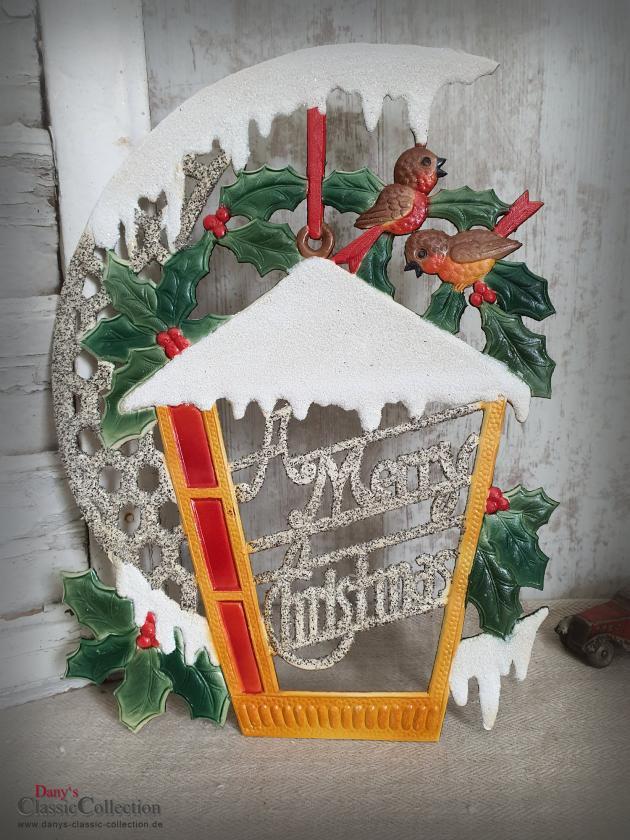 Dresdner Pappe geprägt ~ Vogelhaus verschneit ~ Ilex ~ Vögel ~ A Merry Christmas ~ Vintage Weihnachtsdeko ~ Frohe Weihnachten ~ hy5077