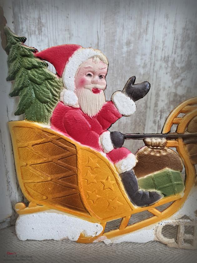 Dresdner Pappe geprägt ~ Nikolaus auf Rentier-Schlitten ~ A Merry Christmas ~ Weihnachtsdeko ~ Frohe Weihnachten ~ Vintage ~ hy5055s1