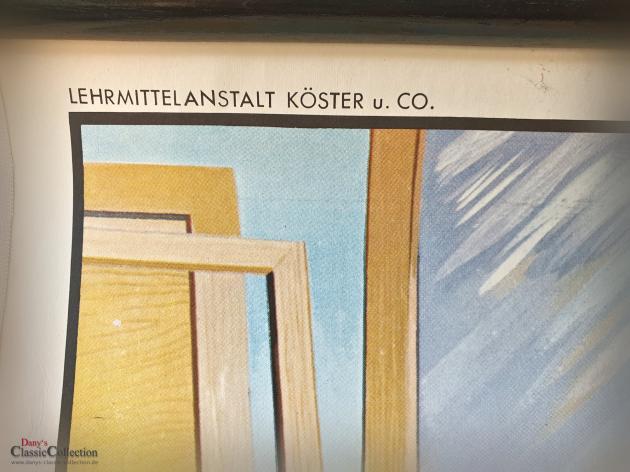 Alte Schulwandkarte ~ Beruf Tischler ~ Schreiner ~ Rollkarte ~ Schulkarte ~ Wandkarte ~ Lehrkarte ~ Midcentury ~ Wanddeko ~ hy5473