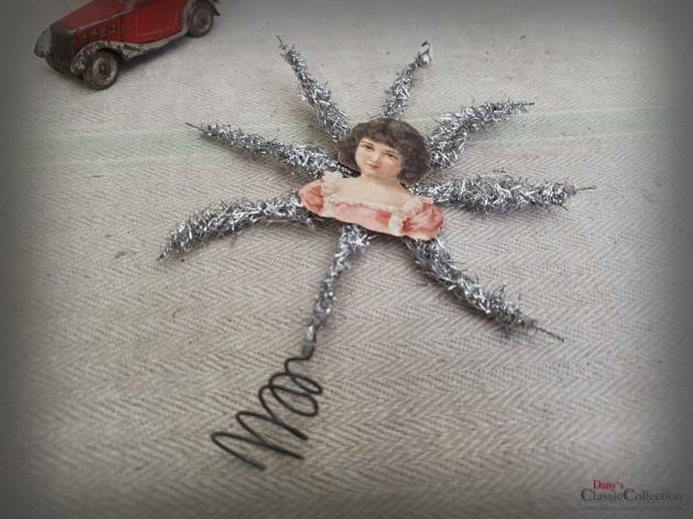 Tinselstern Baumspitze 18,5 cm ~ Oblate ~ Tinsel ~ Christbaumspitze ~ Weihnachtsbaum ~ Bauernsilber ~ Nostalgie Weihnacht ~ hw3953