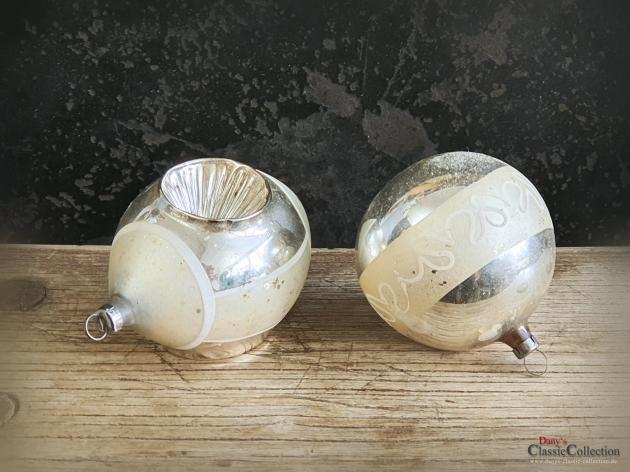 Christbaumkugel Duo silber ~ Einstichkugel ~ alter Sammlerschmuck ~ Christbaumschmuck ~ Vintage Weihnacht ~ hs2048