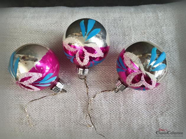 3er Set Christbaumkugeln silber pink ~ alter Christbaumschmuck ~ Vintage Weihnacht ~ hz6412tp