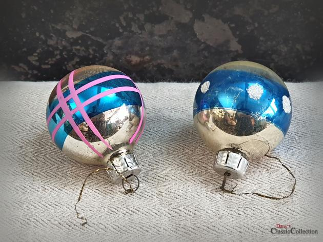 Duo Christbaumkugeln silber blau ~ alter Christbaumschmuck ~ Vintage Weihnacht ~ hz6412db