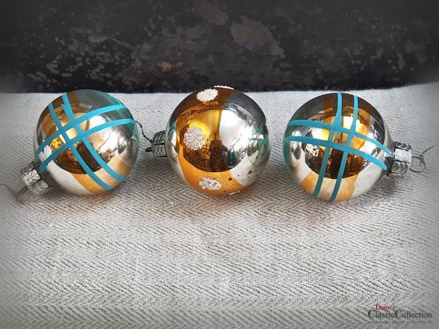 3er Set Christbaumkugeln silber gold ~ alter Christbaumschmuck ~ Vintage Weihnacht ~ hz6412tg