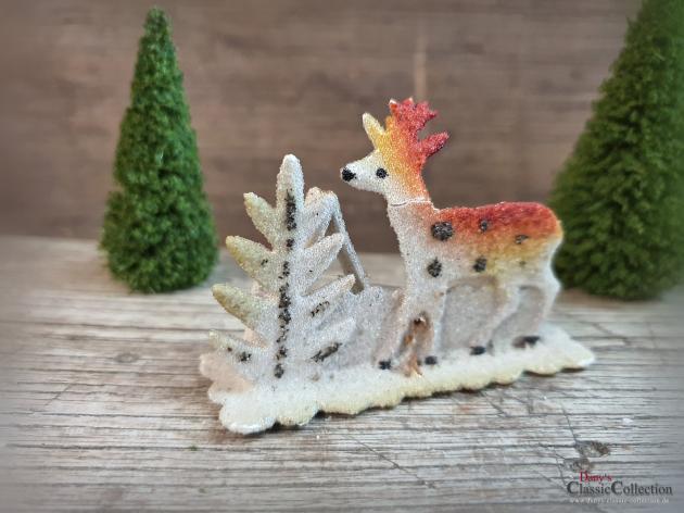 Rehlein im Wald ~ Christbaumschmuck alt ~ Karton beglimmert ~ Baumanhänger ~ Weihnachtsbaum ~ hw3569-12