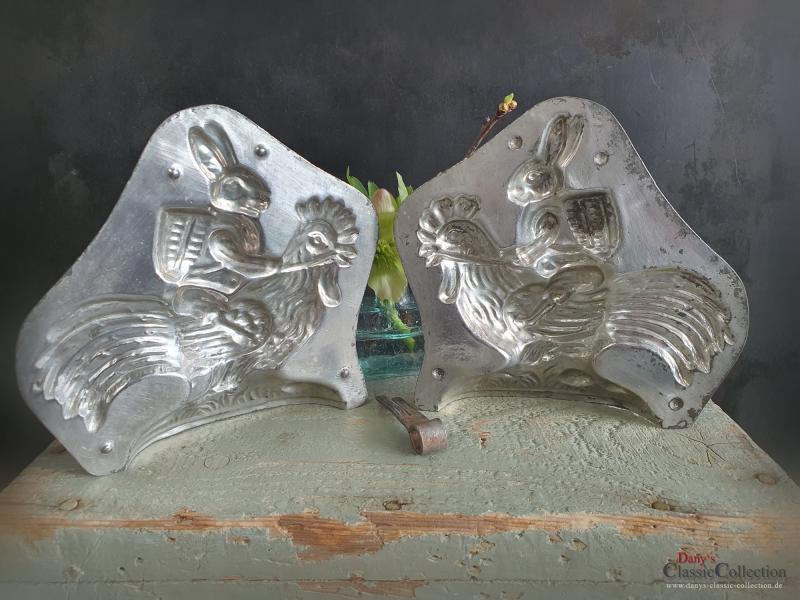 HERIS Hase auf Hahn Schokoladenform 14 cm ~ Metall Form ~ Gießform ~ Vintage Osterhase ~ Frohe Ostern ~ Sammlerstück ~ hy5353-10