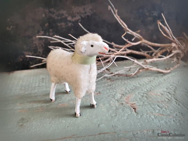 Krippenschaf antik ~ Erzgebirge Krippenfigur ~ Schaf ~ Masseschaf ~ Wollschaf ~ Putz ~ Sammlerstück ~ Shabby Chic ~ hw3031