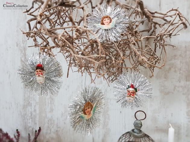 Wunderschöner alter Christbaumschmuck ~ Metallanhänger mit Oblaten auf beiden Seiten ~ Star xmas decoration