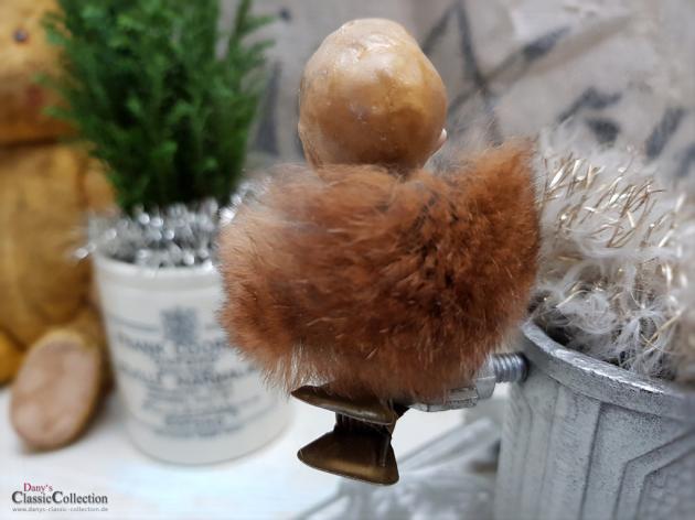 Porzellankopf auf Clip mit Pelzkragen ~ Christbaumschmuck ~ Pretty vintage xmas decoration