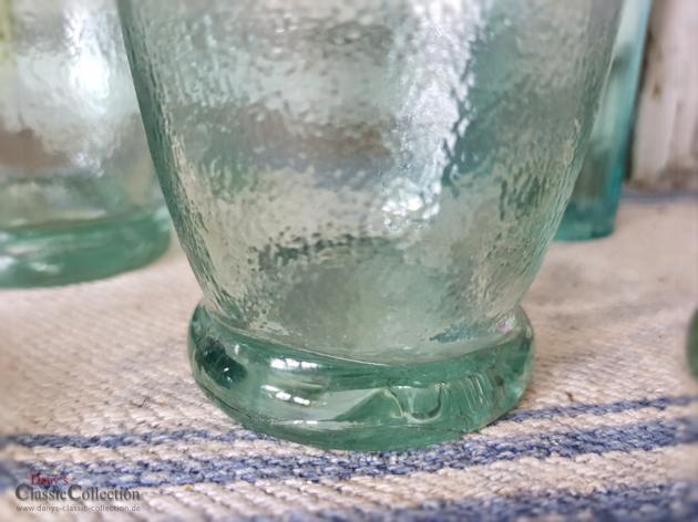Schöne alte Limonadenflaschen ~ aquamaringrünes Pressglas ~ angerauht ~ antike Glasflaschen