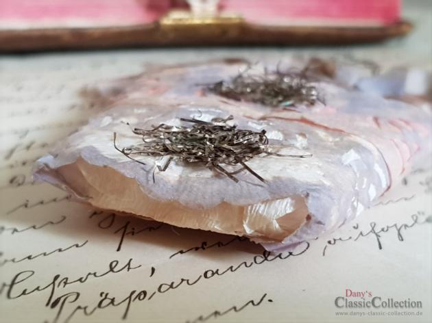 Jugendstil Christbaumschmuck , RARITÄT , Drillinge mit Haube , Papierschmuck , Tinselverzierung
