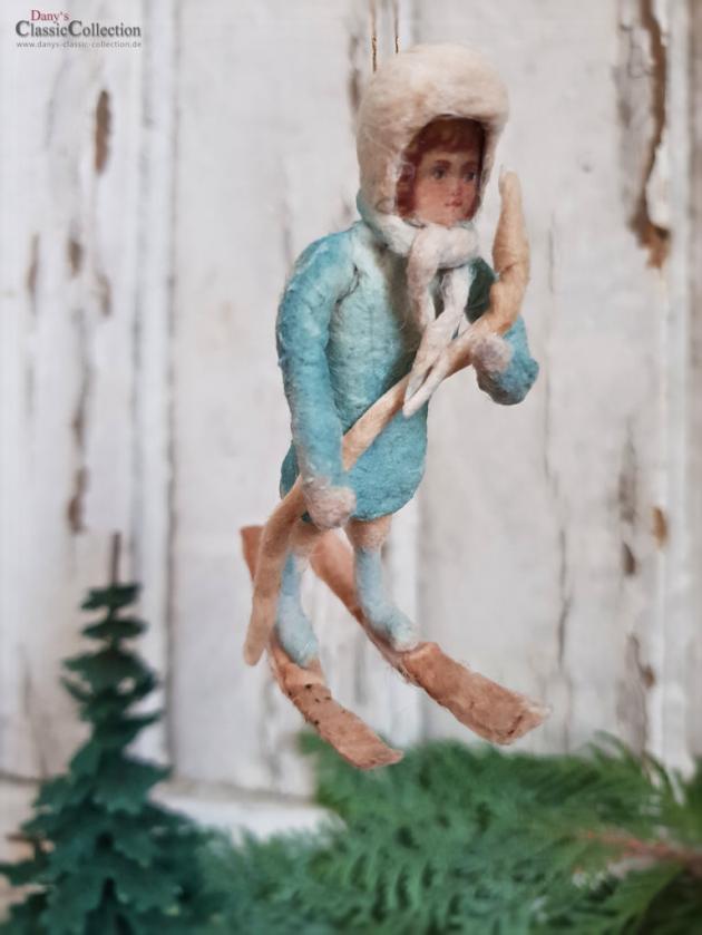 Winterkind ~ Schneekind ~ Wattekind Skiern ~ nostalgischer Christbaumschmuck ~ Vintage Weihnacht ~ Weihnachtsschmuck