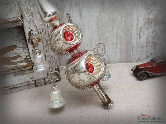 Amazing Old Silver Reflex Christmas Tree Topper 31 Cm With 4 Red Punches And 4 Bells Plus Bouillon Wire And Tinsel Top