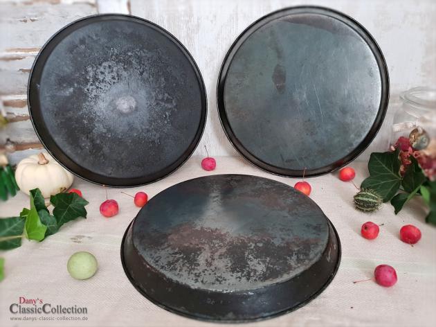 Backblech Ø 26,5 cm ~ Pizzablech ~ Kuchenblech ~ Tablett ~ Untersetzer ~ Vintage Dekoration ~ Landhaus Küchendeko ~ Gartendeko