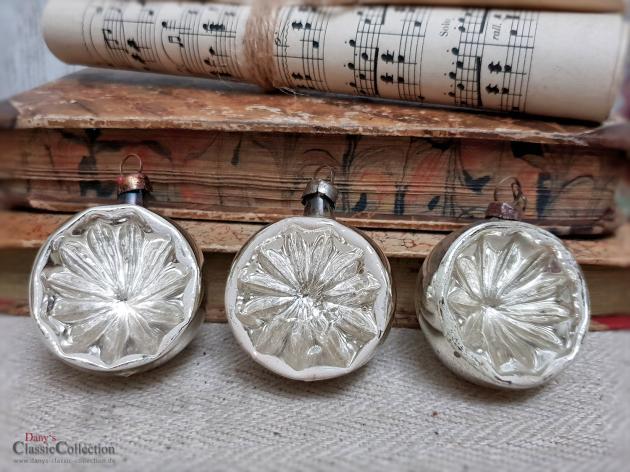 3 Sehr Alte Reflexkugeln Silber Einstich Antiker