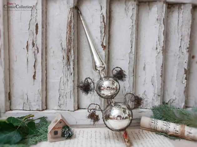 Vintage Silver Christmas Tree Topper 12 59 4 Tinsel Pompons