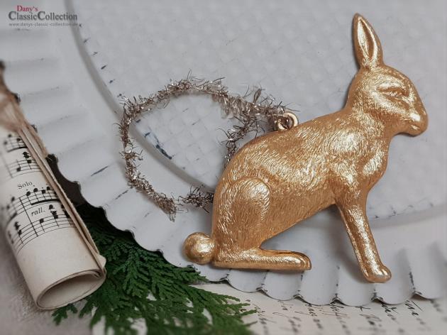 Dresdner Pappe Christbaumschmuck Goldener Hase Aus Gepragter