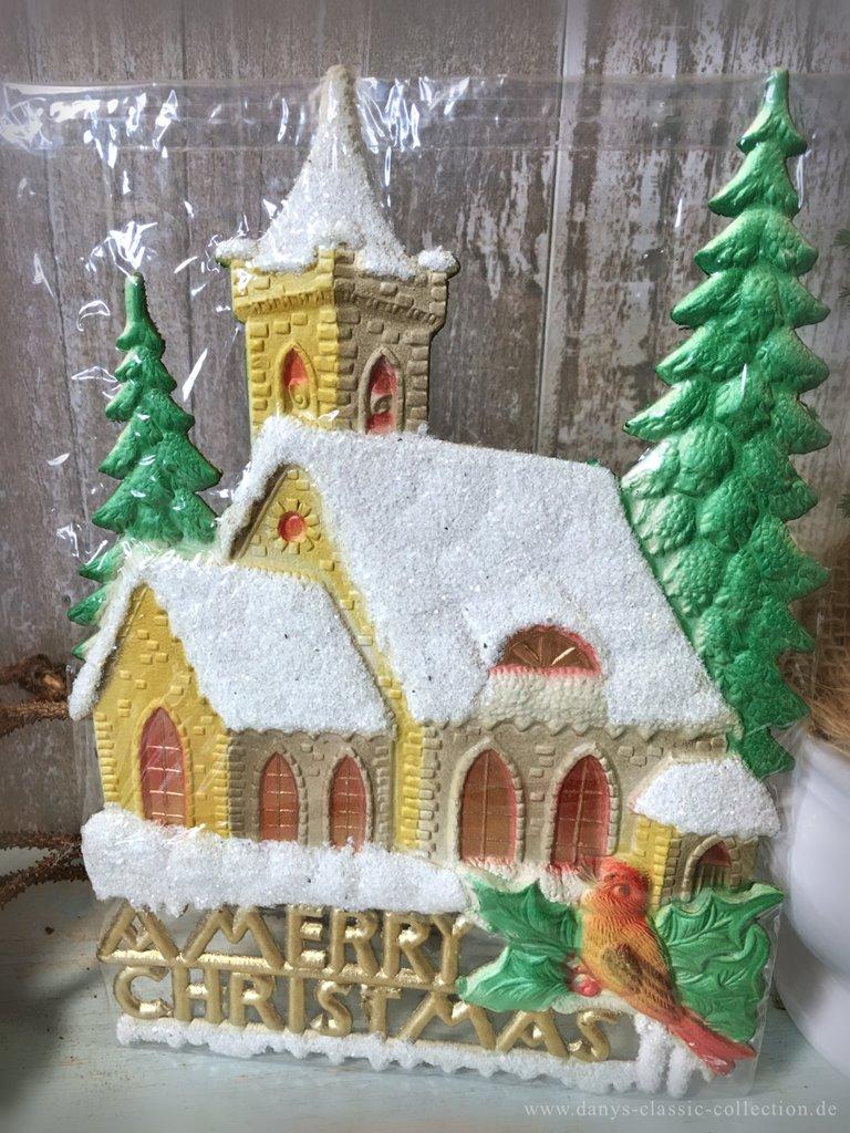Kirche verschneit dresdner pappe weihnachten fensterbild schnee ilex weihnachtsbaum - Weihnachtsdeko amerikanisch ...