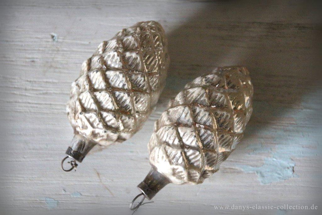Christbaumschmuck zapfen alt silber patina vintage - Weihnachtsbaum antik ...
