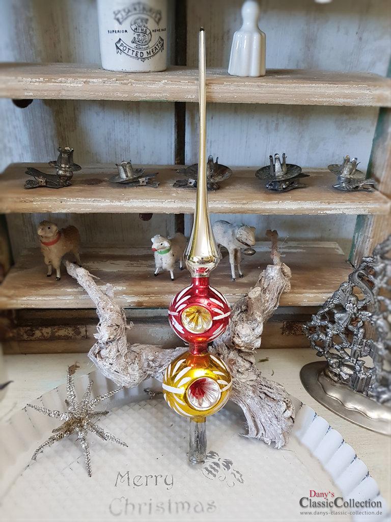 Reflex christbaumspitze mit 2 kugeln mit je 3 einstichen Glas mit kugeln dekorieren