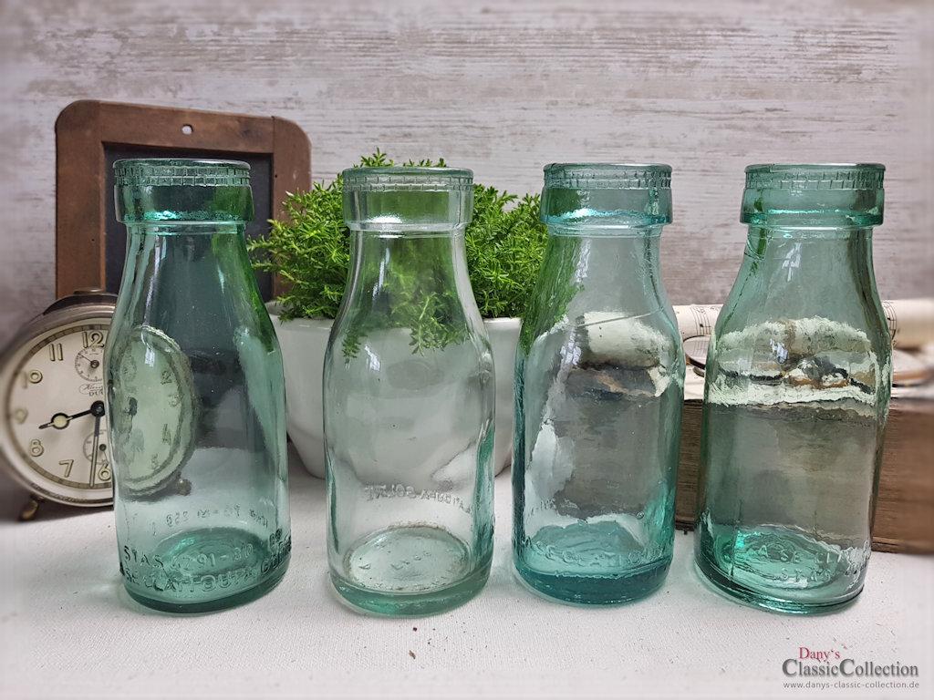 Dickwandige alte milchflaschen hellgr nes pressglas for Antike weihnachtsdeko