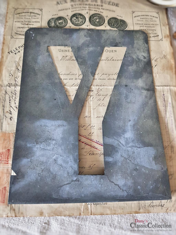 A - E ~ large zinc letter stencils ~ zinc monograms ~ vintage metal home  decor ~ industrial design