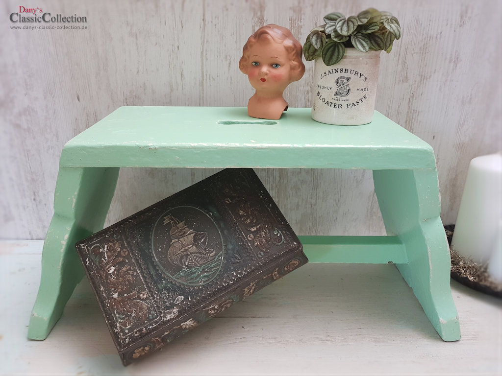 alter mintfarbener schemel fu hocker hocker beistelltisch wooden step stool vintage. Black Bedroom Furniture Sets. Home Design Ideas