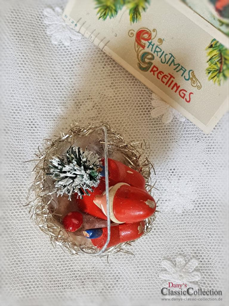 Tiny Christmas.Rare German Christmas Tree Decoration Erzgebirge Figurine Tiny Christmas Tree Cotton Basket Tinsel Angel Die Cut
