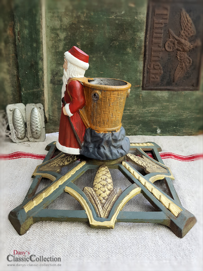 Vintage Christmas Tree Stand.Old Christmas Tree Stand With Father Christmas Antique Tree Stand Cast Iron Painted Cones Christmas Xmas Tree