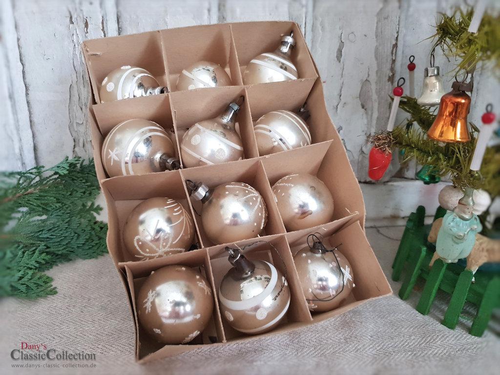 12 christbaumkugeln 4 cm weihnachtskugeln silber mit bemalung vintage weihnachtsbaum - Weihnachtskugeln vintage ...